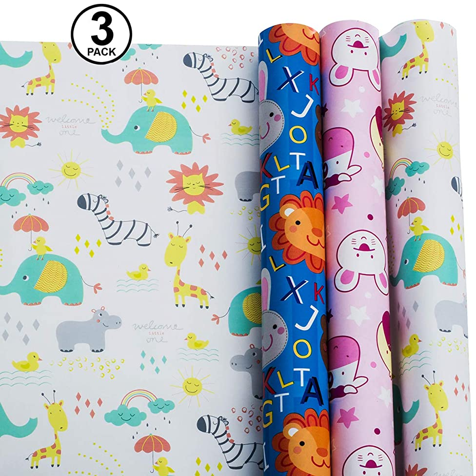 Wrapping Paper – Baby Wrapping Paper Set – Animal & Zoo Gift Wrapping Paper – Baby Shower Wrapping Paper Roll – (Pack of 3, 30in x 120in per roll, and 3 Bows, 2 Ribbons Included)