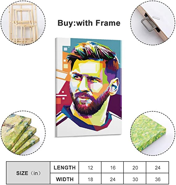 Huihuang Messi The God of Football Star Art Poster sur toile et art mural Impression moderne Chambre familiale 30 x 45 cm