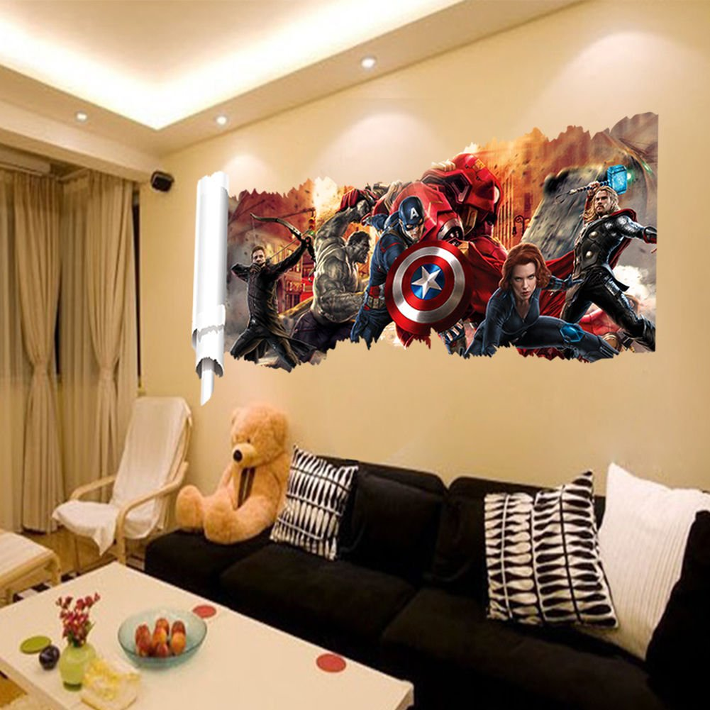Avengers Infinity War Marvel Super Hero 3D Smashed Wall Sticker Decal Art J1265