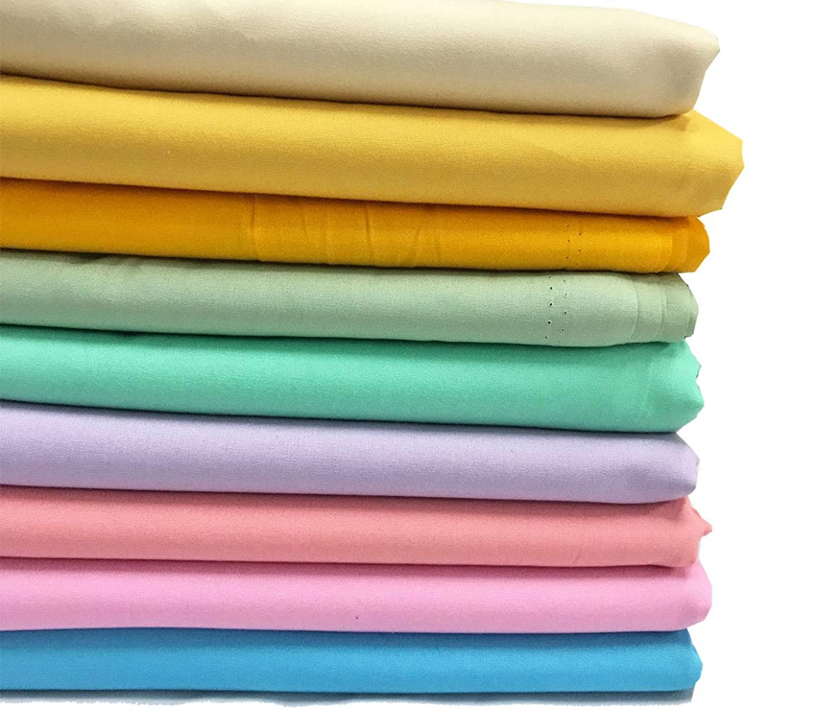 Amornphan 100% Sweet Solid Plain Pastel Colors Cotton Quilting Fabric for Patchwork Needlework DIY Handmade Sewing Crafting Precut 18''x22'' Set of 9 PCS