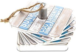 "CoTa Global Wooden Nautical Coaster for Drinks Set of 6 ""Aqua Sky"" Square Decorative Coastal & Beach Theme Drinkware Kitch..."