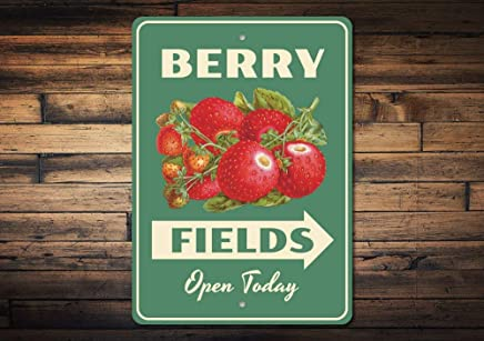 "Berry Fields Sign Berry Lover Gift Berry Farm Decor Strawberry Berry Kitchen Sign Berries Decor Berries Sign Quality Metal 8"" x 12"""