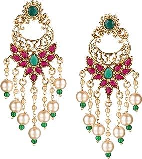 Efulgenz Indian Bollywood 14K Gold Plated Traditional Wedding Crystal Pearl Tassel Chandelier Chandbali Earrings Jewelry Set