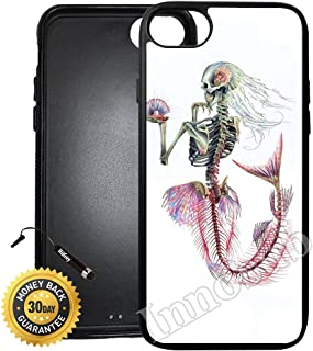 Custom iPhone 8 Case (Mermaid Skeleton) Edge-to-Edge Rubber Black Cover with Shock and Scratch Protection | Lightweight, Ultra-Slim | Includes Stylus Pen by INNOSUB
