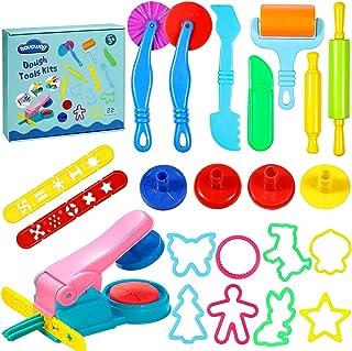 aovowog Outils de Pâte À Modeler Play doh Moules Kit pour Argile Pâte à Modeler 22 pièces Smart Dough Tools avec Extrudeus...