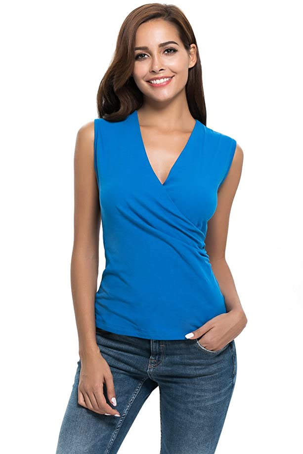 APRLL Womens Sleeveless V Neck Ruched Side Ultra Soft Thin Mesh Sheer Tee Shirt Tops Blouse Slim Fit