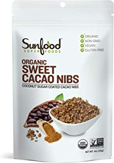 Sunfood Superfoods Sweet Cacao Nibs | All Natural Ingredients | Ultra-Clean (No Chemicals, Artificial Flavor, Additives or...