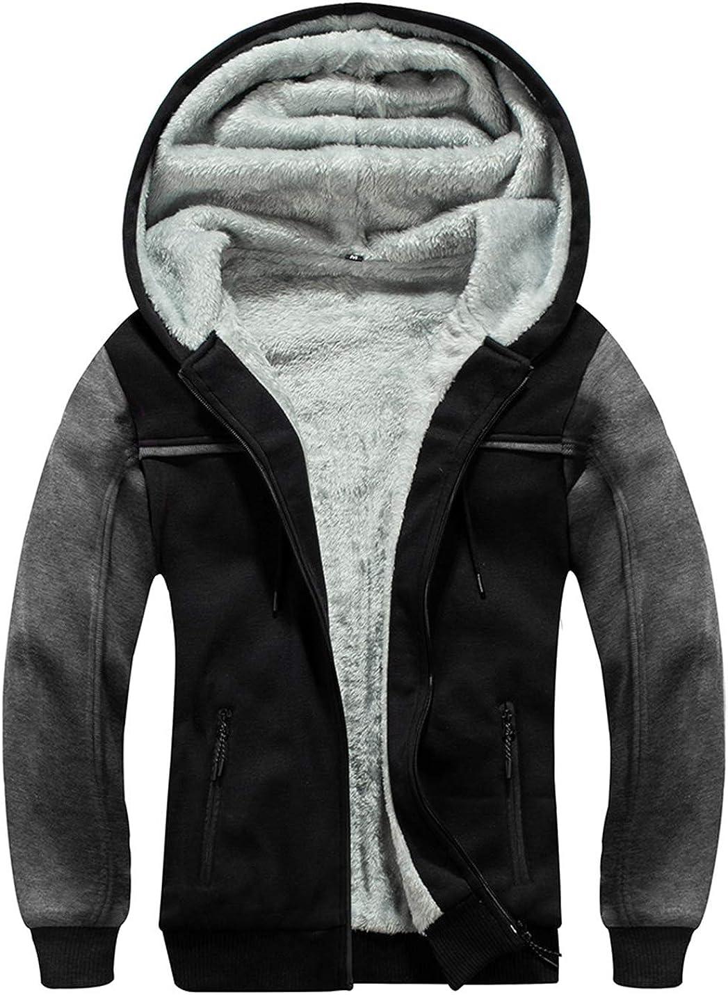Gihuo Men's Color Block Cozy Fleece Lined Sweatshirt Warm Jacket