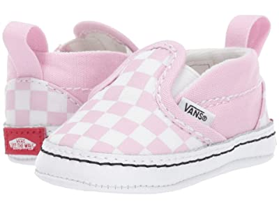 Vans Kids Slip-On V Crib (Infant/Toddler) ((Checkerboard) Lilac Snow/True White) Girls Shoes