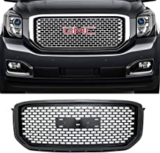 AA Products Sport Square Mesh Grille Compatible GMC Yukon/XL/Denali 2015 up to 2019 Front Hood Bumper Grill Grille with Emblem Base Gloss Black