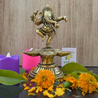 Aakrati Dancing Ganesha Brass Oil Lamp Decorative Metal Lamp Statue for Home Décor