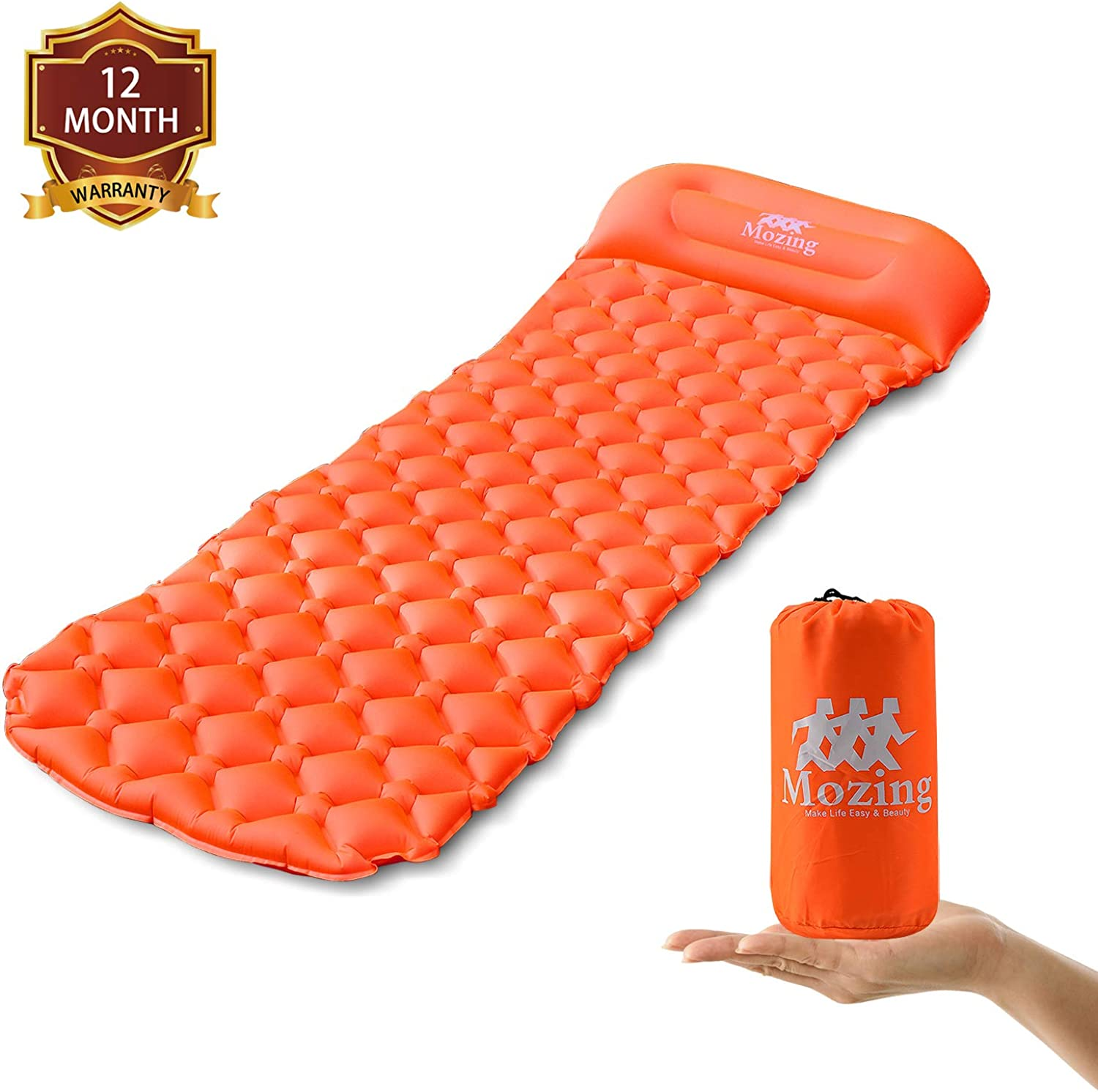Mozing Camping Sleeping Pad Self Inflating with Attached Pillow, Ultralight Sleeping Mats Camping Pad Inflatable Lightweight Air Pads for Hiking Backpacking Traveling and Outdoor