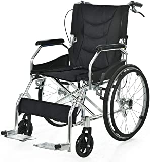 EQUIPMED 20 Inch Folding Wheelchair with Park Brakes and Folding Backrest, Black