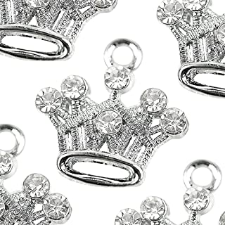 M81-E Cute Crystal Crown Charms Pendants Beads Wholesale (10 pcs)