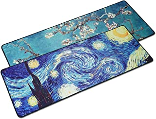 LIZIMANDU 2 Pack Gaming Mouse Pad,Extended Large Pattern Anti Slip Stitched Edges Long XXL Mousepad,Desk Pad Keyboard Mat, Non-Slip Base, Water-Resistant, for Work&Gaming, Office&Home(Van Gogh Set)