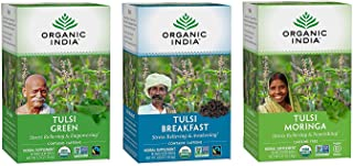 Sponsored Ad - Organic India Energizing Tulsi Herbal Tea Favorites - Breakfast, Green, Moringa - Adaptogen, Vegan, Gluten-...