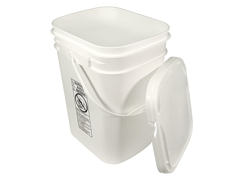 5.3 Gallon White Rectangular Bucket/Pail with Hinged Snap Lid