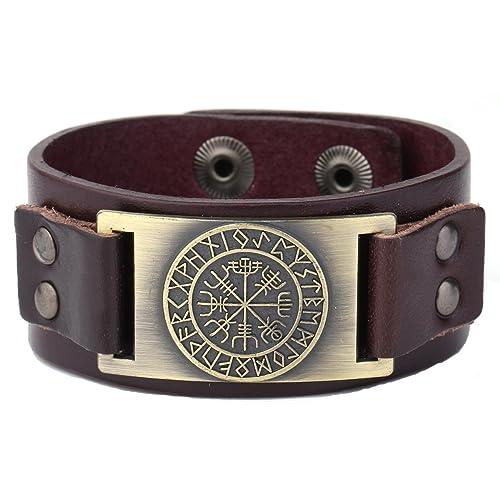 Dawapara Vintage Nordic Viking Rune Vegvisir Compass Charm Cuff Bracelet for Men/Women Gift Jewelry