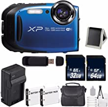 Fujifilm FinePix XP80 16.4 MP CMOS WiFi Waterproof Digital Camera (Blue) + Battery + Charger + 32GB SDHC Memory Card + 64GB SDXC Memory Card + Carrying Case + Deluxe Starter Kit Bundle