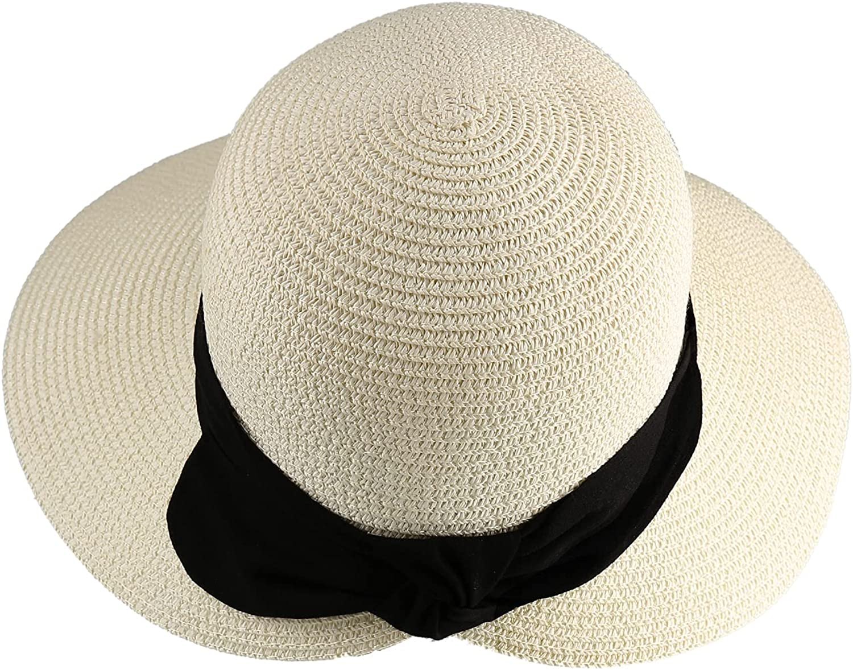 Surblue Womens StrawSun Hat Wide BrimFoldable PanamaRoll up Cap Fedora Beach Sun Hat UPF50+
