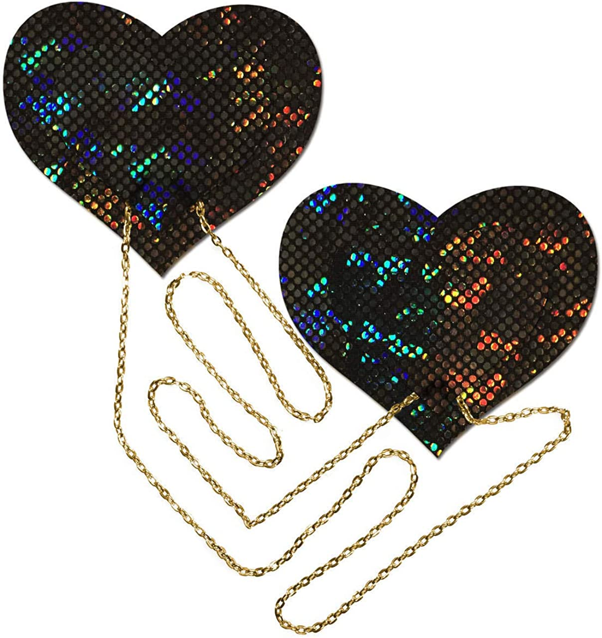 Pastease Nipple Pasties - Black Shattered Disco Ball Heart with