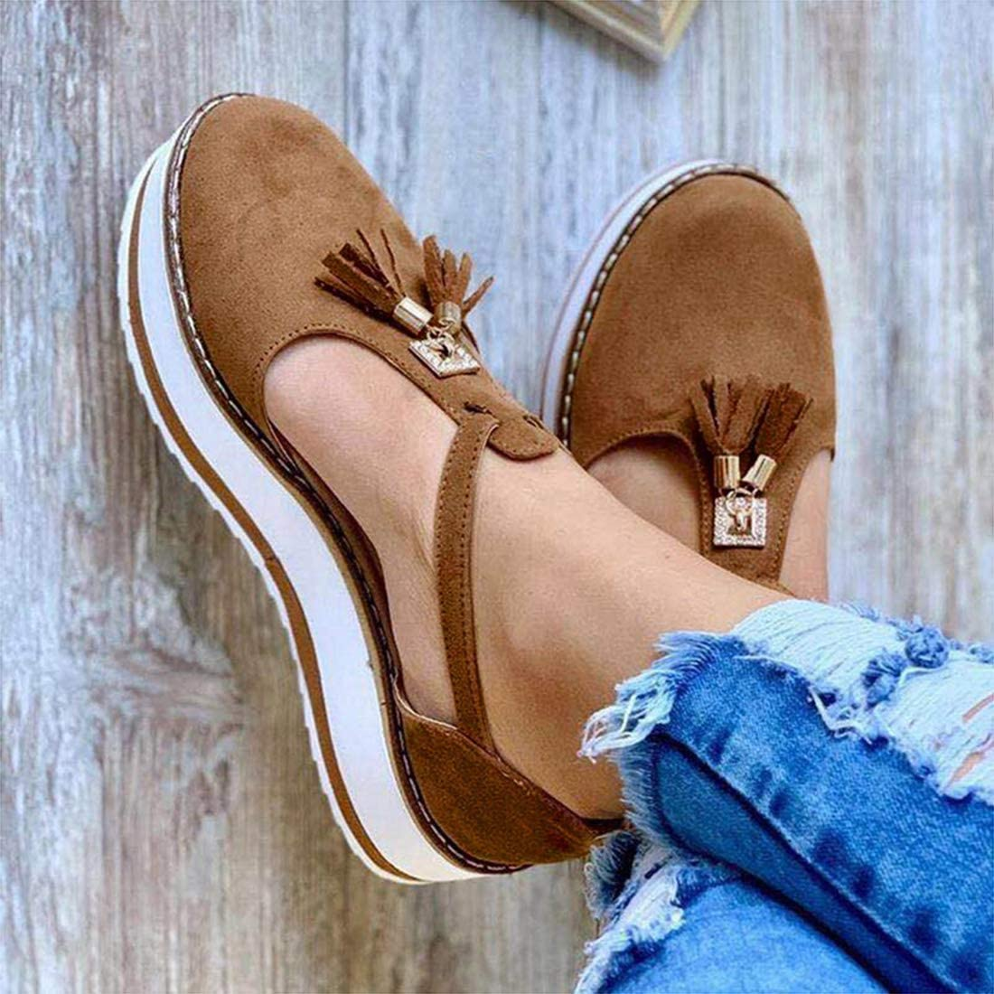 FMOGE Summer Sandals for Women Tassel At the price of Now on sale surprise Closed Toe Leather Sandal