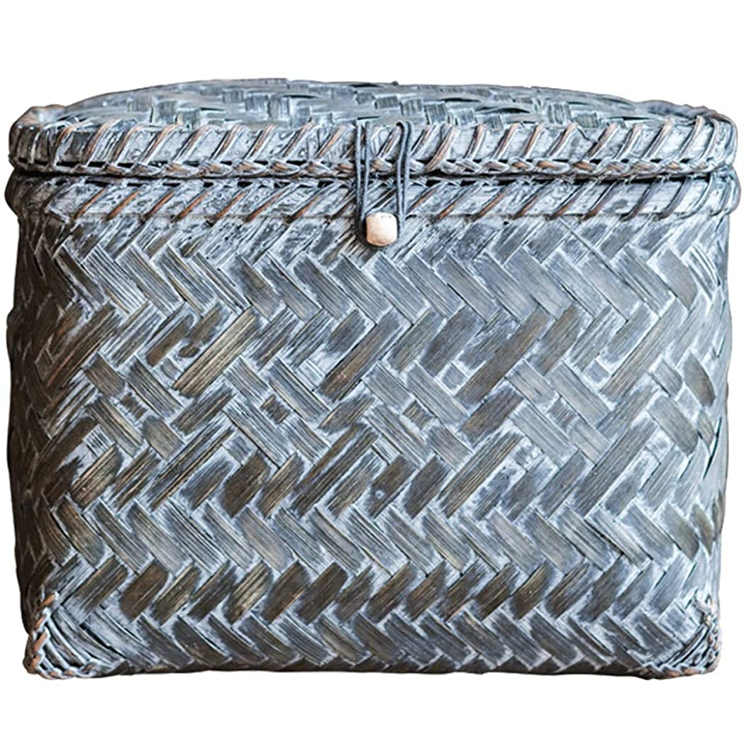 によって軌道何よりもIUYWL収納バスケット 竹収納かご手作り手すりゴミバスケット青30×23×22cm IUYWL収納バスケット