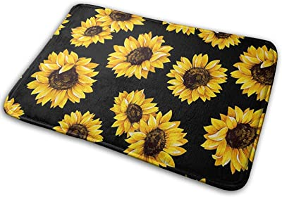 Sunflower Floral Large Doormats, Non Slip Durable Washable Home Decorative Door Mats Rugs for Entrance Bedroom Bathroom Kitchen, 23 X 16 Inches