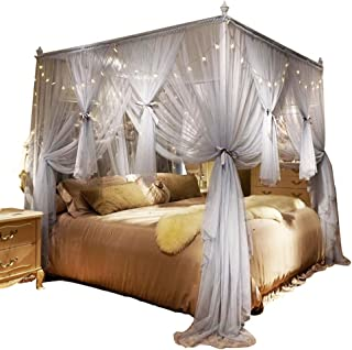 Nattey 4 Corner Poster Princess Bed Curtain Canopy Mosquito Netting with Led Light (California King, Gray)