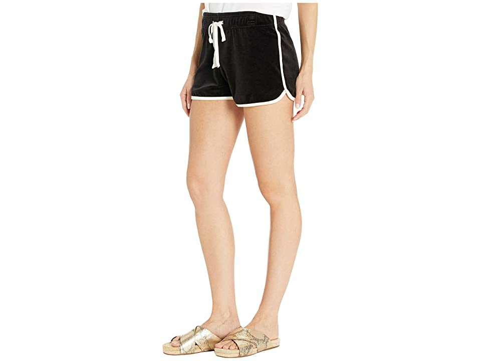 Juicy Couture Solid Velour Track Dolphin Shorts (Pitch Black) Women's Shorts
