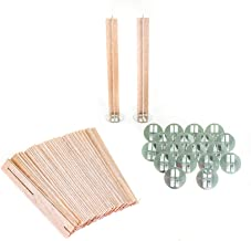 ValesaVales DIY 20 Pack Set of 130 mm / 5.1 inch Cross Wooden Core Wax Wicks Complete with Metal Base Anchor Holders for H...