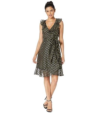 Donna Morgan Metallic Dot Dress w/ Blouson Sleeve (Black/Gold Multi) Women