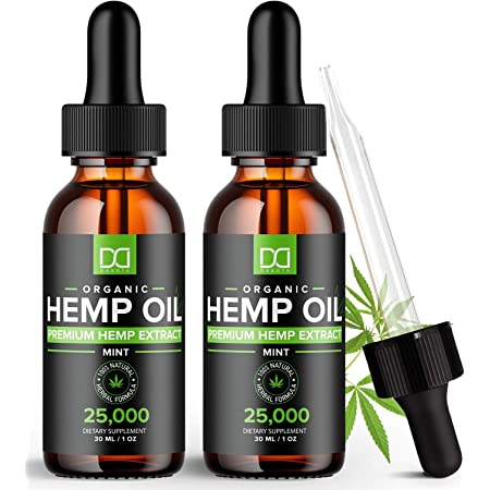 (25,000mg) Hemp Oil Maximum Strength Drops for Pain Relief and Inflammation Stress Sleep Mood Focus 50,000mg Total - Aceite de Cáñamo Ansiedad, Organic Hemp Extract Oil Tincture for Hair Skin (2 Pack)