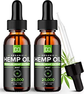 (25,000mg) Hemp Oil Maximum Strength Drops for Pain Relief and Inflammation Stress Sleep Mood Focus 50,000mg Total - Aceit...