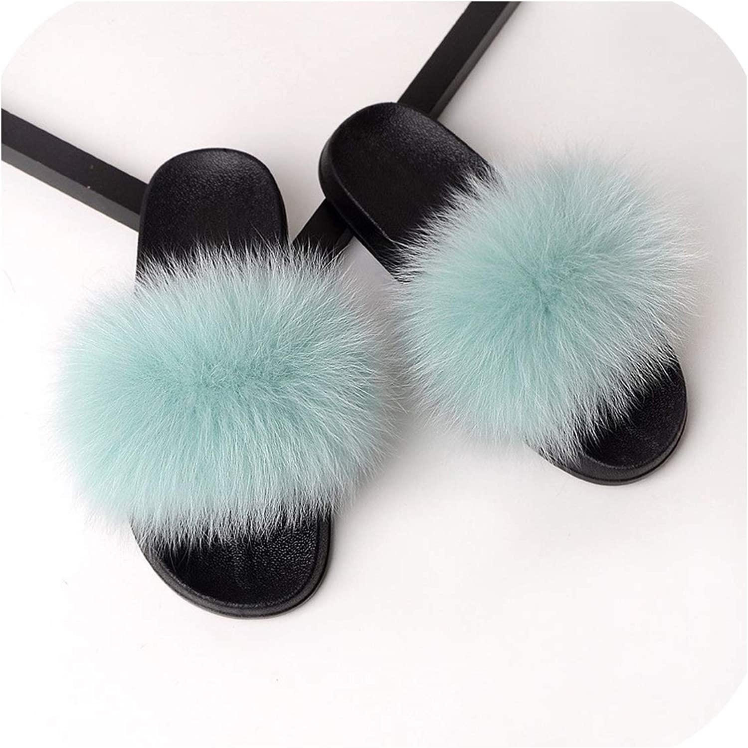 Fur Slippers Women Real Fox Fur Slides Home Furry Flat Sandals Female Cute Fluffy House shoes