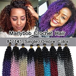SEGO Marlibob Marlybob Crochet Braids Hair Extension 14 Inch Ombre Water Wave Crochet Braiding Hair Braids Kinky Curly Afro Jerry Curl Crochet Hair Weave for Black Women #Black to Dark Blue 3 Bundle