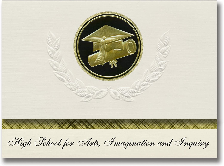 Signature Ankündigungen High School School School für Kunst, Phantasie und Anfrage (New York, NY) Graduation Ankündigungen, Presidential Basic Pack 25 W Gold & Schwarz Folie Dichtung B079MHG9SC | Kostengünstig  1c810e