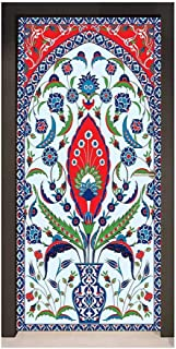 Turkish Pattern Self Adhesive Wall Sticker Floral Nature Art Motifs from Istanbul Abstract Plant in a Vase for Office Decoration Blue Green Scarlet,W23xH70