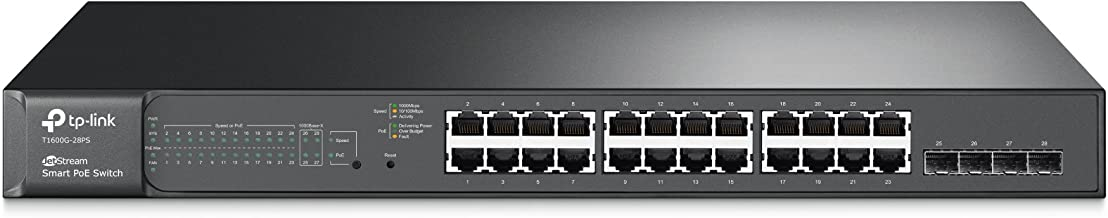 TP-Link JetStream T1600G-28PS 24-Port Gigabit PoE+ Smart Managed Pro Switch w/ 4x Fiber up-link Slots, 192W