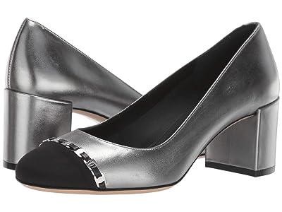 Salvatore Ferragamo Avella Cap Toe Pump (Silver Metallic) High Heels