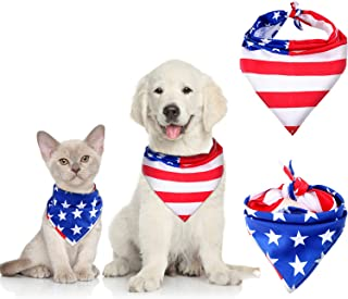 Syhood 2 Pieces Dog Bandana American Flag Cat Pet Scarf 4th of July Washable Dog Bibs for Dog and Cat Supplies