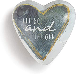 DEMDACO Let Go and Let God Gold Tone Slate Grey 2 x 1.5 Inch Resin Stone Art Hearts Pocket Prayer Collectible Token