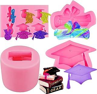 Cieovo 4 Pieces Graduation Mold Graduation Cap Silicone Mold Graduation Diploma Chocolate Candy Mold Graduation Cupcake Fo...