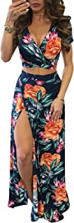 Women's Sexy V Neck Floral Printed Side Slit Two-Piece...