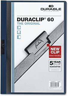 DURABLE Report Cover with DURACLIP, Letter-size, Holds Up to 60 Pages, Clear Cover/Navy Blue, 25 per Box (221428)