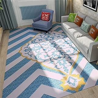 Tapis Rectangulaire De Style Européen Bleu/Tapis/Tapis pour Salon Table Basse Chambre Canapé Chambre Chevet (Taille: 120 *...