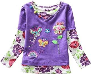 VIKITA Kid Girl Cotton Long Sleeve Bird Butterfly Flower T Shirt Tee Top Purple 3T