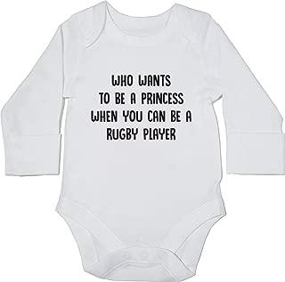 HippoWarehouse Who Wants to be a Princess When You Can be a Rugby Player Body Manga Larga Bodys Pijama ni/ños ni/ñas Unisex