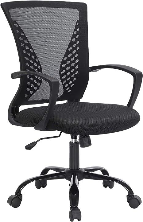 Sedia da ufficio, in rete, girevole, regolabile in altezza, funzione di inclinazione libera songmics obn22bk