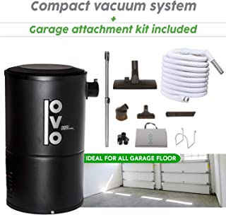 OVO Compact 550 Airwatts Central Vacuum System Power Unit with Garage Accessory Kit Included, Condo-Vac, Black (PAK55G)